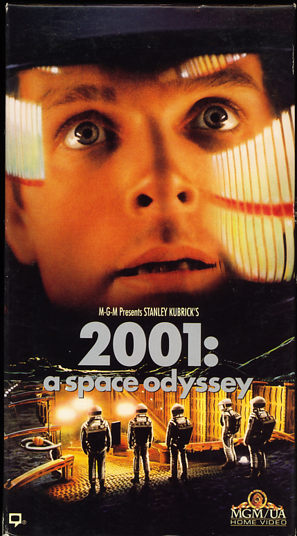 2001: A Space Odyssey VHS cover art. Movie starring Keir Dullea, Gary Lockwood, William Sylvester, Douglas Rain. Directed by Stanley Kubrick. Based on the novel by Arthur C. Clarke. 1968.