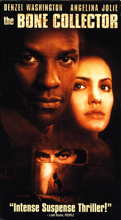 The Bone Collector VHS cover art. Movie starring Denzel Washington, Angelina Jolie, Queen Latifah. Directed by Phillip Noyce. 1999.