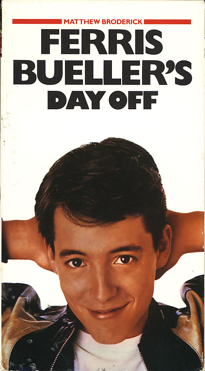 Ferris Bueller's Day Off VHS cover art. Starring Matthew Broderick, Alan Ruck, Mia Sara. With Jeffrey Jones, Jennifer Grey, Ben Stein. Written and directed by John Hughes. 1986.
