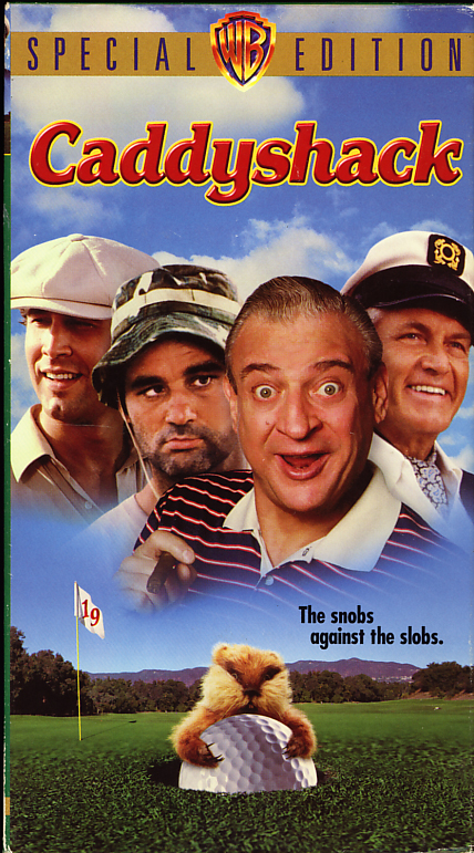 Caddyshack on VHS. Starring Chevy Chase, Rodney Dangerfield, Bill Murray, Ted Knight, Michael O'Keefe. Directed by Harold Ramis. 1980.