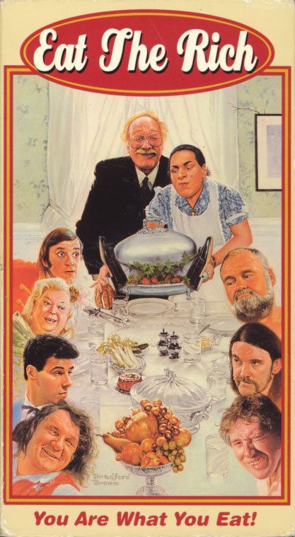 Eat the Rich VHS cover art. Movie starring Ronald Allen, Sandra Dorne, Jimmy Fagg, Lemmy Kilmister, Lanah Pellay, Nosher Powell, Fiona Richmond, Ron Tarr. With Kevin Allen, Dave Beard, Rowena Bently, Robbie Coltrane, Angela Bowie, Bill Wyman, Steve Walsh, Paul McCartney, Shane MacGowan, Hugh Cornwell, Miles A. Copeland III, Miranda Richardson, Nigel Planer, Rik Mayall, Jools Holland, Koo Stark, Dawn French, Kathy Burke, Jennifer Saunders, Adrian Edmondson. Directed by Peter Richardson. 1988.