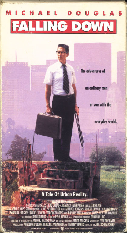 Falling Down VHS cover art. Movie starring Michael Douglas, Robert Duvall. With Barbara Hershey, Tuesday Weld, Rachel Ticotin, Frederic Forrest. Directed by Joel Schumacher. 1993.