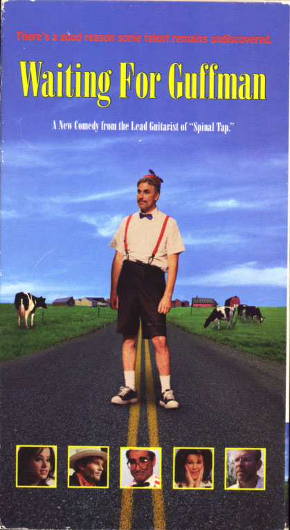 Waiting For Guffman on VHS. Starring Christopher Guest, Fred Willard, Catherine O'Hara, Parker Posey, David Cross, Eugene Levy, Bob Balaban, Lewis Arquette, Matt Keeslar, Brian Doyle-Murray. Directed by Christopher Guest. Written by Christopher Guest, Eugene Levy. Music by Christopher Guest, Michael McKean, Harry Shearer. 1996.