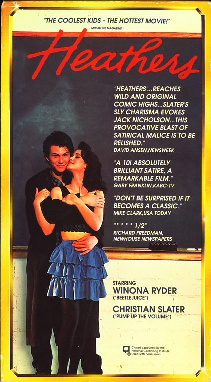 Heathers VHS cover art. Movie starring Winona Ryder, Christian Slater, Shannen Doherty. Directed by Michael Lehmann. 1988.