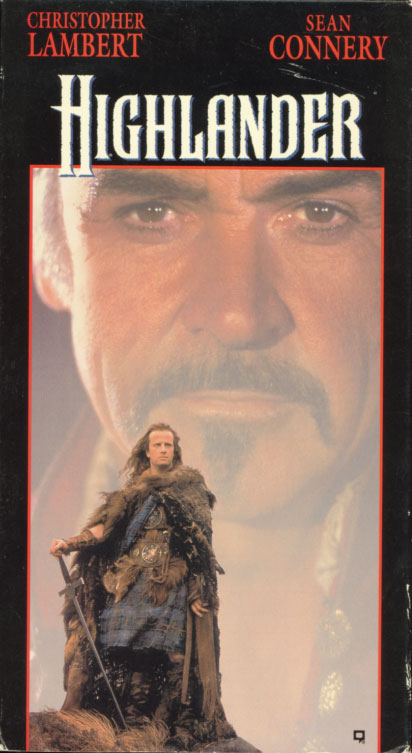 Highlander VHS cover art. Movie starring Christopher Lambert, Roxanne Hart, Clancy Brown, Sean Connery. Directed by Russell Mulcahy. 1986.