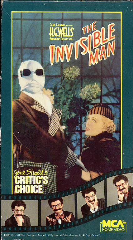 The Invisible Man VHS cover art with Gene Shalt. Movie starring Claude Rains, Gloria Stuart. Directed by James Whale. Based on the novel by H.G. Wells. 1933.