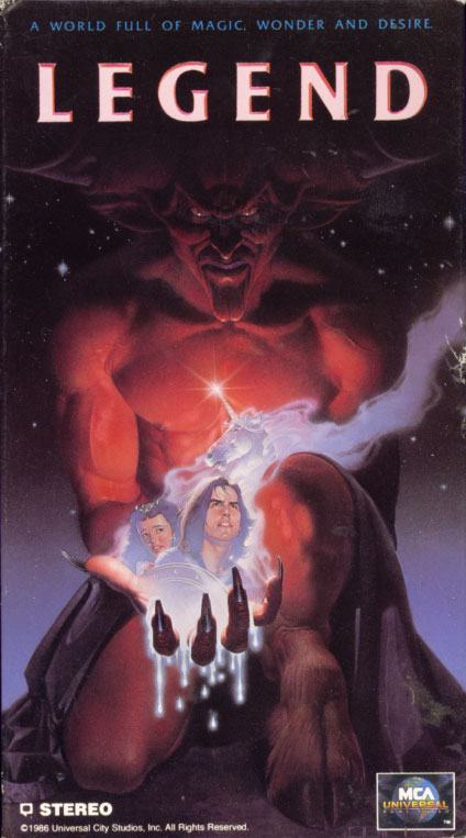 Legend VHS cover art. Movie starring Tom Cruise, Mia Sara, Tim Curry. With David Bennent, Alice Playten, Billy Barty. Directed by Ridley Scott. 1985.