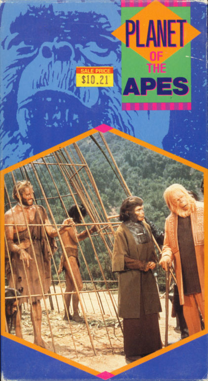 Planet of the Apes on VHS. Starring Charlton Heston, Roddy McDowall, Kim Hunter, Maurice Evans, James Whitmore, Linda Harrison. Directed by Franklin J. Schaffner. 1968.