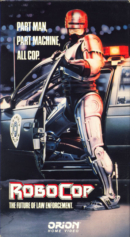 RoboCop VHS cover art. Movie starring Peter Weller, Nancy Allen. With Dan O'Herlihy, Ronny Cox, Kurtwood Smith, Miguel Ferrer. Directed by Paul Verhoeven. 1987.