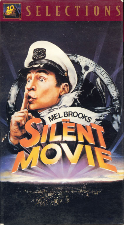 Silent Movie VHS cover art. Movie starring Mel Brooks, Marty Feldman, Dom DeLuise, Sid Caesar, Bernadette Peters. With Harold Gould, Ron Carey, Burt Reynolds, James Caan, Liza Minnelli, Anne Bancroft, Marcel Marceau, Paul Newman. Directed by Mel Brooks. 1976.