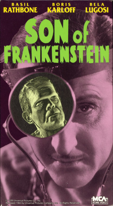 Son Of Frankenstein VHS cover art. Movie starring Boris Karloff, Basil Rathbone, Bela Lugosi. Directed by Rowland V. Lee. 1939.
