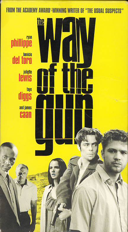 The Way of the Gun VHS cover art. Movie starring Ryan Phillippe, Benicio Del Toro, Juliette Lewis. With Taye Diggs, James Caan, Sarah Silverman. Written and directed by Christopher McQuarrie. 2000.