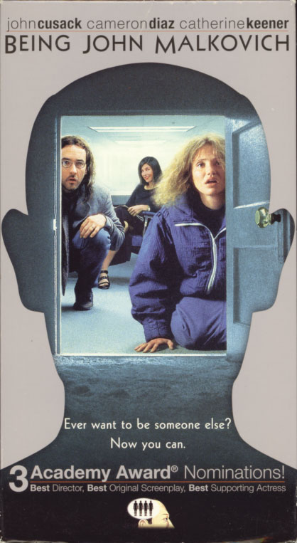 Being John Malkovich VHS cover art. Movie starring John Cusack, Cameron Diaz, Catherine Keener. With John Malkovich, Ned Bellamy, Mary Kay Place, Orson Bean. Directed by Spike Jonze. 1999.