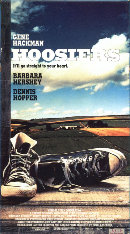 Hoosiers VHS cover art. Movie starring Gene Hackman, Barbara Hershey, Dennis Hopper. Directed by David Anspaugh. 1986.
