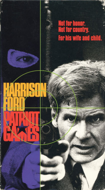 Patriot Games VHS cover art. Movie starring Harrison Ford. With Sean Bean, Anne Archer, Patrick Bergin, Thora Birch, James Fox, Samuel L. Jackson, James Earl Jones, Richard Harris. Directed by Phillip Noyce. From a Tom Clancy novel. 1992.