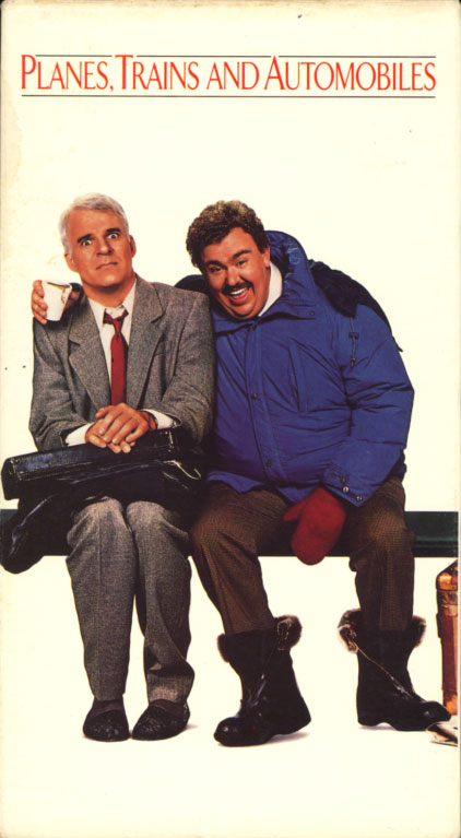 Planes, Trains and Automobiles VHS cover art. Movie starring Steve Martin, John Candy. With Laila Robins, Olivia Burnette, Kevin Bacon, Diana Castle, Michael McKean. Written and directed by John Hughes. 1987.