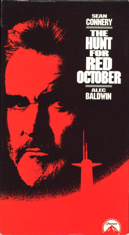 The Hunt For Red October VHS cover art. Movie starring Sean Connery, Alec Baldwin. With Scott Glenn, Sam Neill, James Earl Jones, Gates McFadden, Tim Curry. Directed by John McTiernan. From a Tom Clancy novel. 1990.
