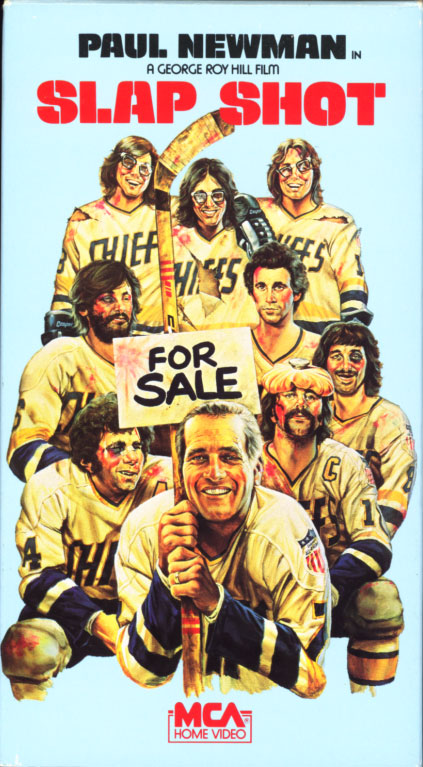 Slap Shot VHS cover art. Movie starring Paul Newman. With Strother Martin, Michael Ontkean, Jennifer Warren, Lindsay Crouse, M. Emmet Walsh, Jerry Houser, David Hanson, Steve Carlson, Jeff Carlson. Directed by George Roy Hill. 1977.