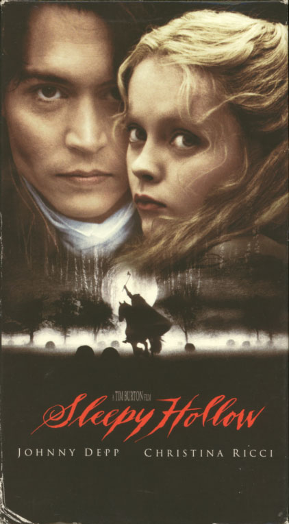 Sleepy Hollow VHS cover art. Movie starring Johnny Depp, Christina Ricci. With Miranda Richardson, Michael Gambon, Casper Van Dien, Jeffrey Jones, Christopher Walken, Christopher Lee. Directed by Tim Burton. 1999.