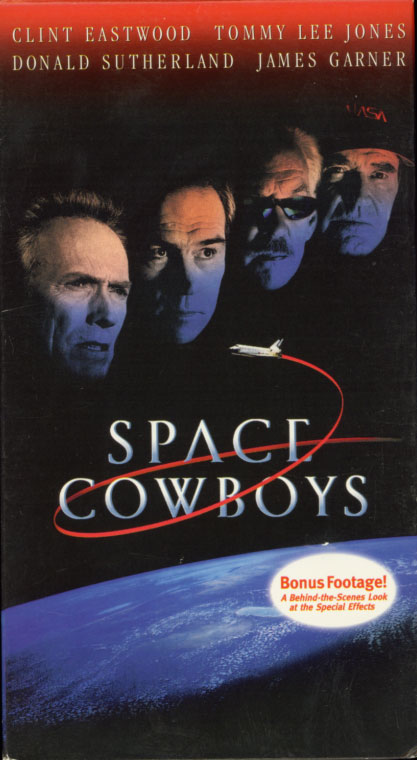 Space Cowboys on VHS cover art. Movie starring Clint Eastwood, Tommy Lee Jones, Donald Sutherland, James Garner. Directed by Clint Eastwood. 2000.
