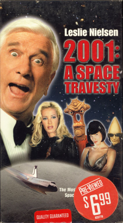 2001: A Space Travesty VHS cover art. Movie starring Leslie Nielsen. With Ophélie Winter, Ezio Greggio, Peter Egan, Alexandra Kamp-Groeneveld. Directed by Allan A. Goldstein. 2000.