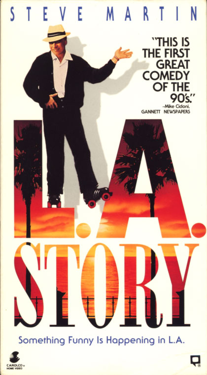 L.A. Story VHS cover art. Movie starring Steve Martin. With Victoria Tennant, Richard E. Grant, Marilu Henner, Sarah Jessica Parker, Patrick Stewart. Directed by Mick Jackson. 1991.