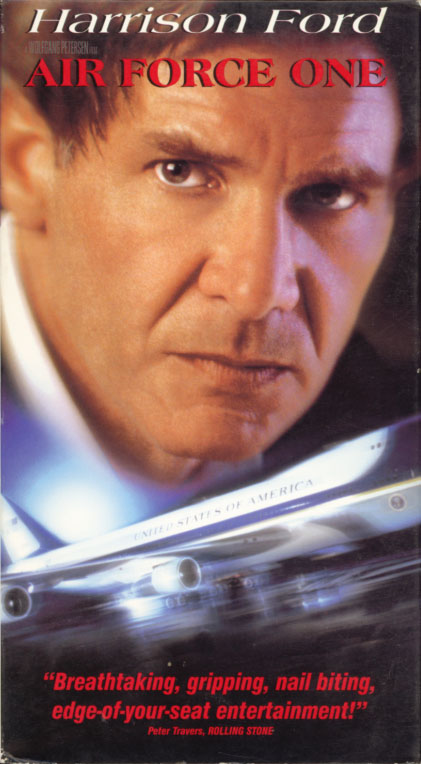 Air Force One VHS cover art. Movie starring Harrison Ford, Gary Oldman, Glenn Close. With Wendy Crewson, Liesel Matthews, William H. Macy, Dean Stockwell. Directed by Wolfgang Petersen. 1997.