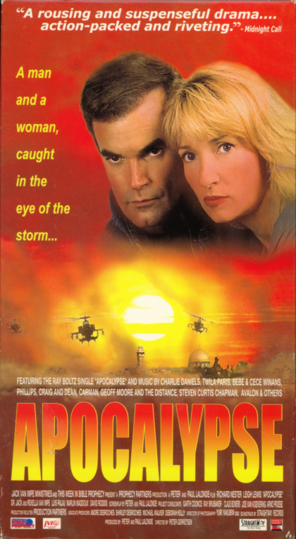 Apocalypse: Caught In The Eye of the Storm VHS cover art. Christian movie starring Leigh Lewis, Richard Nester. Directed by Peter Gerretsen. 1998.