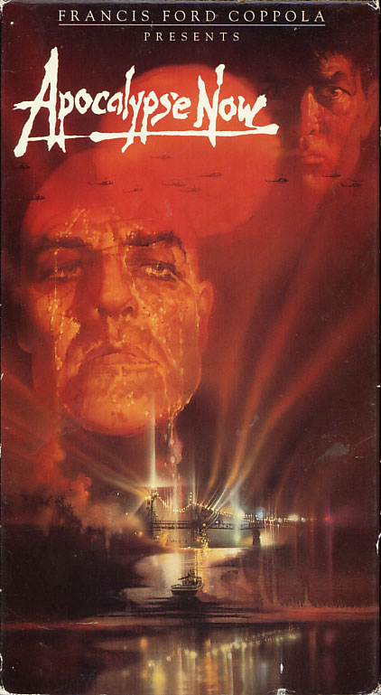 Apocalypse Now VHS cover art. Movie starring Martin Sheen, Marlon Brando, Robert Duvall, Frederic Forrest, Laurence Fishburne, Harrison Ford, Dennis Hopper, Sam Bottoms, Albert Hall. Directed by Francis Ford Coppola. 1979.