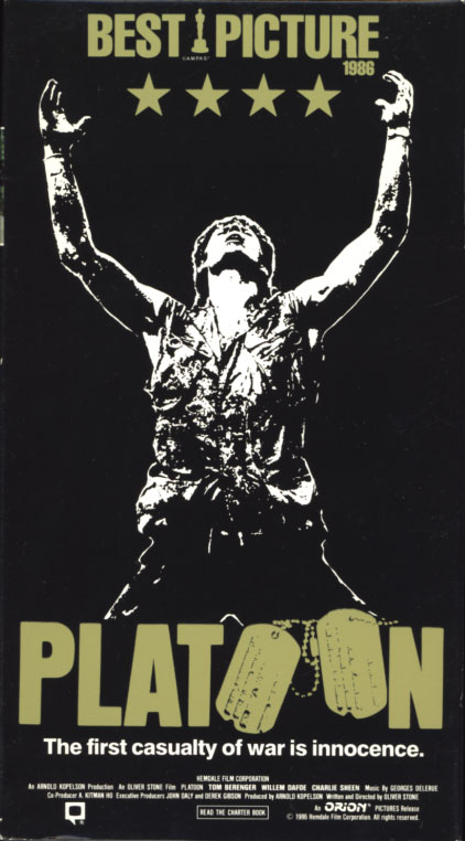 Platoon VHS cover art. Movie starring Tom Berenger, Willem Dafoe, Charlie Sheen. With Forest Whitaker, Kevin Dillon, John C. McGinley, Johnny Depp. Written and directed by Oliver Stone. 1986.