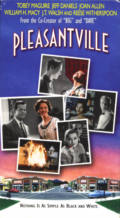 Pleasantville VHS cover art. Movie starring Tobey Maguire, Jeff Daniels, Joan Allen, William H. Macy, J.T. Walsh, Reese Witherspoon. With Don Knotts, Jane Kaczmarek, Jenny Lewis. Written and directed by Gary Ross. 1998.