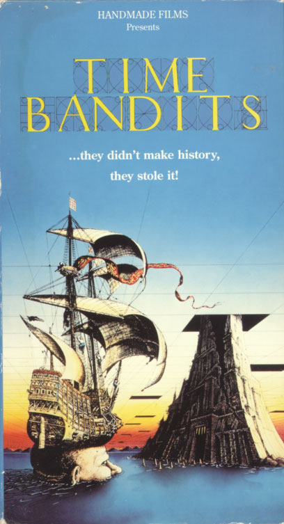 Time Bandits VHS cover art. Movie starring John Cleese, Shelley Duvall, Sean Connery, Michael Palin, David Warner, Craig Warnock, Katherine Helmond, Ian Holm, Ralph Richardson, Peter Vaughan, Jack Purvis, David Rappaport, Kenny Baker, Mike Edmonds, Malcolm Dixon, Tiny Ross. Directed by Terry Gilliam. 1981.