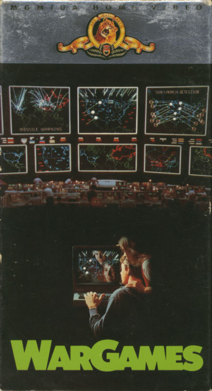 WarGames VHS cover art. Movie starring Matthew Broderick, Dabney Coleman, John Wood, Ally Sheedy. With Michael Madsen, Maury Chaykin, William H. Macy, Michael Ensign, Barry Corbin, James Tolkan. Directed by John Badham. 1983.