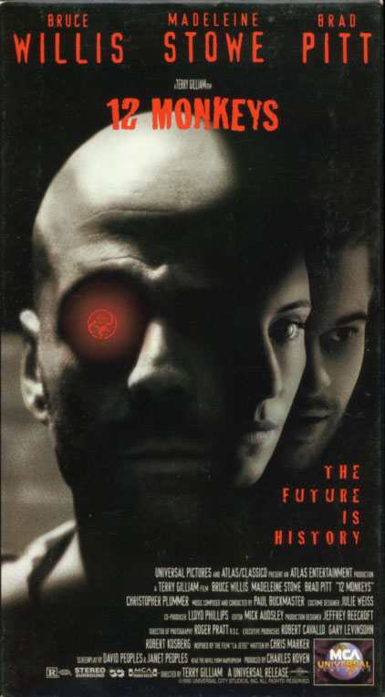 12 Monkeys VHS cover art. Movie starring Bruce Willis, Madeleine Stowe, Brad Pitt. With Joseph Melito, Jon Seda, Frank Gorshin, Christopher Plummer. Directed by Terry Gilliam. 1995.