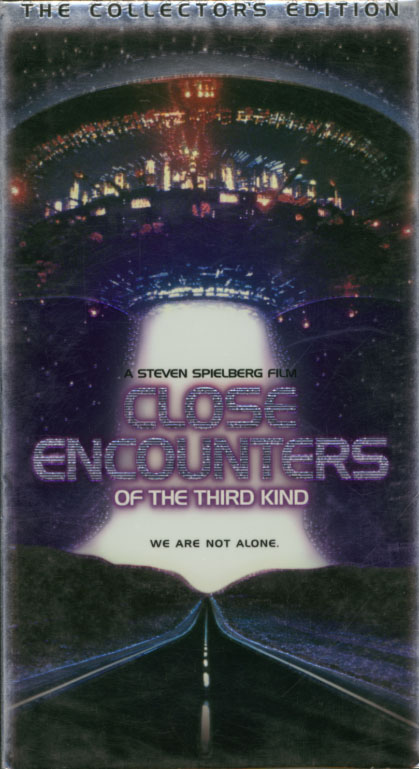 Close Encounters of the Third Kind VHS cover art. Movie starring Richard Dreyfuss, François Truffaut, Teri Garr. With Melinda Dillon, Bob Balaban, Cary Guffey. Directed by Steven Spielberg. 1977.