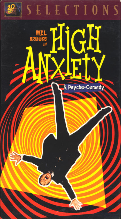 High Anxiety VHS cover art. Movie starring Mel Brooks, Madeline Kahn, Cloris Leachman, Harvey Korman. With Dick Van Patten, Barry Levinson, Jack Riley, Charlie Callas. Directed by Mel Brooks. 1977.