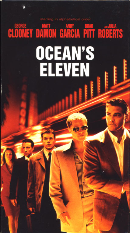 Ocean's Eleven VHS cover art. Movie starring George Clooney, Andy Garcia, Brad Pitt, Julia Roberts, Matt Damon. With Bernie Mac, Elliott Gould, Casey Affleck, Scott Caan, Carl Reiner. Directed by Steven Soderbergh. 2001.
