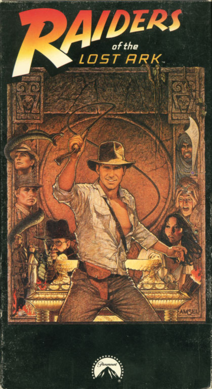 Raiders of the Lost Ark VHS cover art. Movie starring Harrison Ford, Karen Allen. With Paul Freeman, John Rhys-Davies, Wolf Kahler, Ronald Lacey, Denholm Elliott. Written by Lawrence Kasdan, George Lucas, Philip Kaufman. Directed by Steven Spielberg. 1981