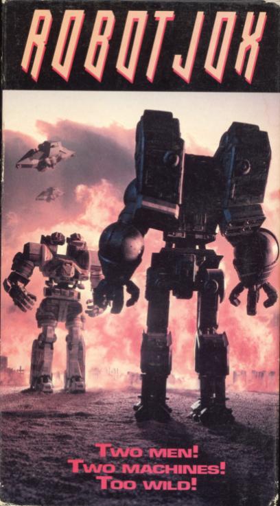 Robot Jox VHS cover art. Movie starring Gary Graham, Anne-Marie Johnson, Paul Koslo. With Robert Sampson, Jeffrey Combs, Ian Patrick Williams. Directed by Stuart Gordon. 1990.