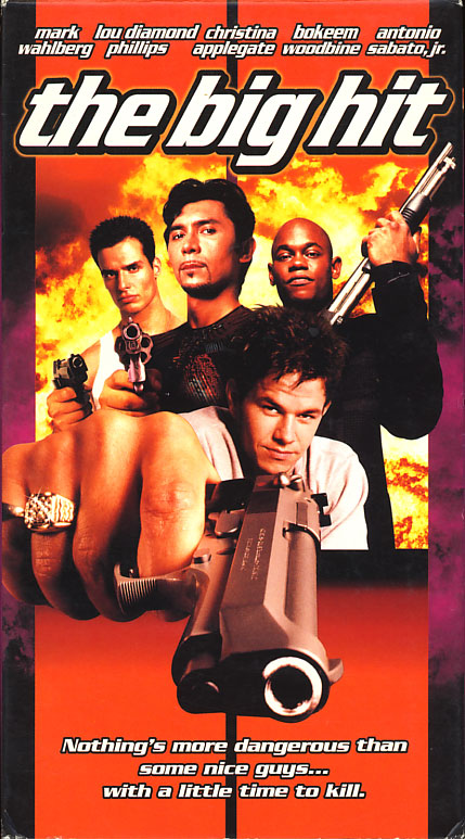 The Big Hit VHS cover art. Movie starring Mark Wahlberg, Lou Diamond Phillips, Christina Applegate. With Avery Brooks, Bokeem Woodbine, Antonio Sabato Jr., Elliott Gould. Directed by Kirk Wong. 1998.