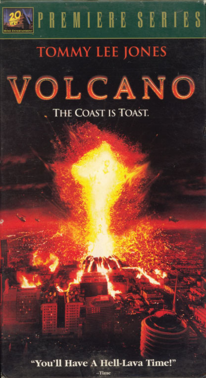 Volcano VHS cover art. Movie starring Tommy Lee Jones. With Anne Heche, Gaby Hoffmann, Don Cheadle, Jacqueline Kim, Keith David. Directed by Mick Jackson. 1997.