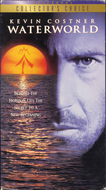 Waterworld VHS cover art. Movie starring Kevin Costner, Jeanne Tripplehorn, Dennis Hopper, Tina Majorino. With Michael Jeter, R.D. Call, Jack Kehler, Jack Black, Kim Coates. Directed by Kevin Reynolds. 1995.