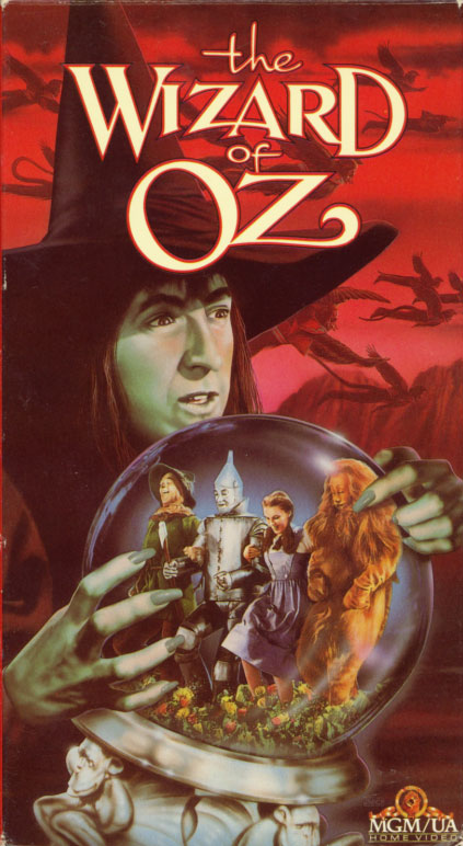 The Wizard of Oz VHS cover art. Movie starring Judy Garland, Frank Morgan, Ray Bolger, Jack Haley, Bert Lahr, Billie Burke, Margaret Hamilton. Directed by Victor Fleming. 1939.