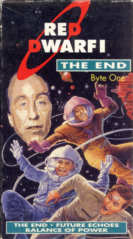 Red Dwarf I: The End VHS cover art. British television sci-fi comedy starring Chris Barrie, Craig Charles, Danny John-Jules, Norman Lovett. Created and written by Rob Grant, Doug Naylor. 1988.