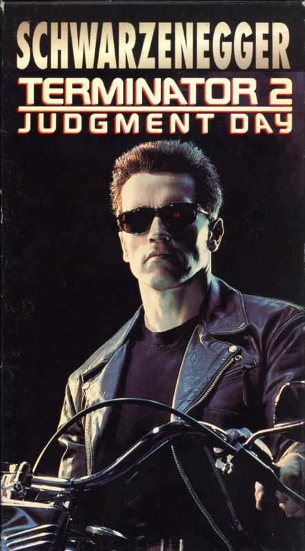 Terminator 2: Judgment Day VHS cover art. Action adventure movie starring Arnold Schwarzenegger, Linda Hamilton, Edward Furlong, Robert Patrick. Directed by James Cameron. 1991.