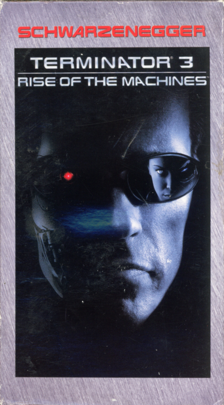Terminator 3: Rise of the Machines VHS cover art. Action sci-fi thriller movie starring Arnold Schwarzenegger, Nick Stahl, Kristanna Loken, Claire Danes. Directed by Jonathan Mostow. 2003.