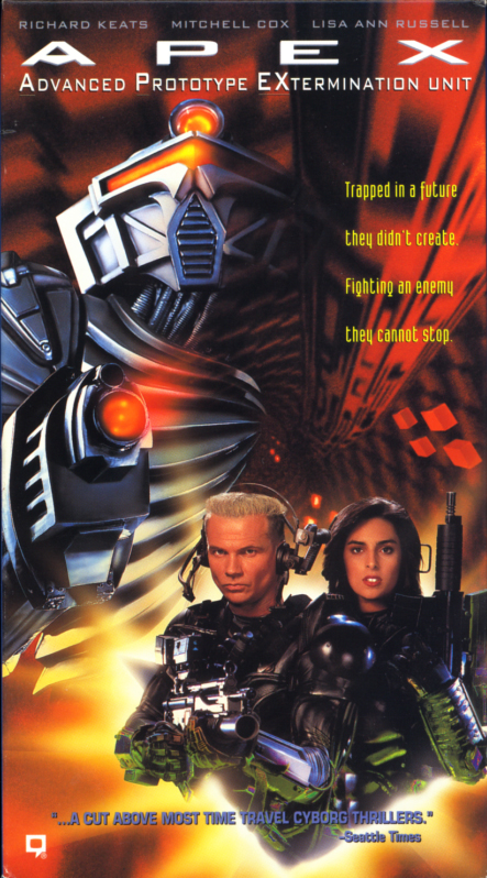 APEX -- Advanced Prototype EXtermination Unit VHS cover art. Time-travel sci-fi action movie starring Richard Keats, Mitchell Cox, Lisa Ann Russell, Marcus Aurelius. Directed by Phillip J. Roth. 1994.