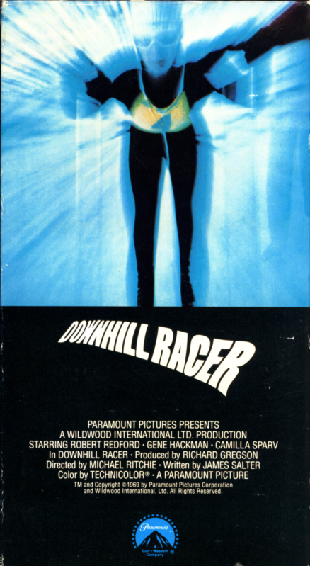 Downhill Racer VHS cover art. Skiing movie starring Robert Redford, Gene Hackman, Camilla Sparv. Directed by Michael Ritchie. 1969.