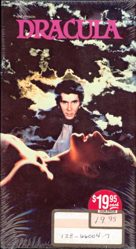 Dracula VHS cover art (sealed). Gothic movie starring Frank Langella, Laurence Olivier, Donald Pleasence, Kate Nelligan. Directed by John Badham. From the book by Bram Stoker. 1979.