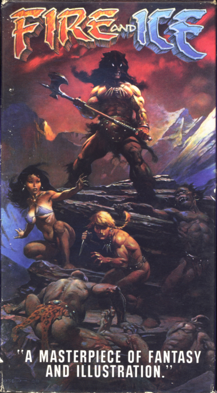 Fire and Ice VHS cover art. Animated movie starring Randy Norton, Cynthia Leake, Steve Sandor, Sean Hannon, Leo Gordon, William Ostrander. Directed by Ralph Bakshi. Produced by Ralph Bakshi and Frank Frazetta. 1983.